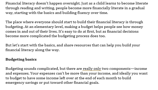 Financial Literacy Starts with Budgeting
