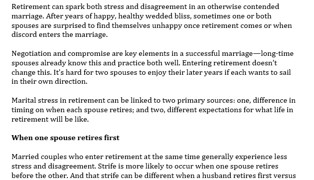 Prepare your Marriage for Retirement