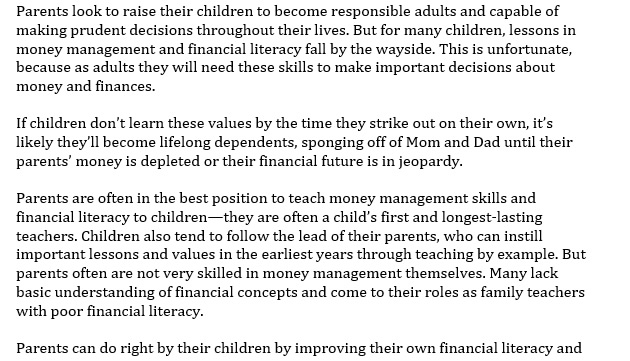 Invest in Your Children's Financial Education