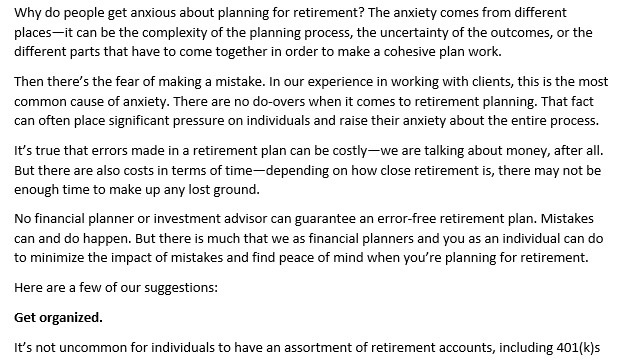Finding Peace of Mind When Planning for Retirement